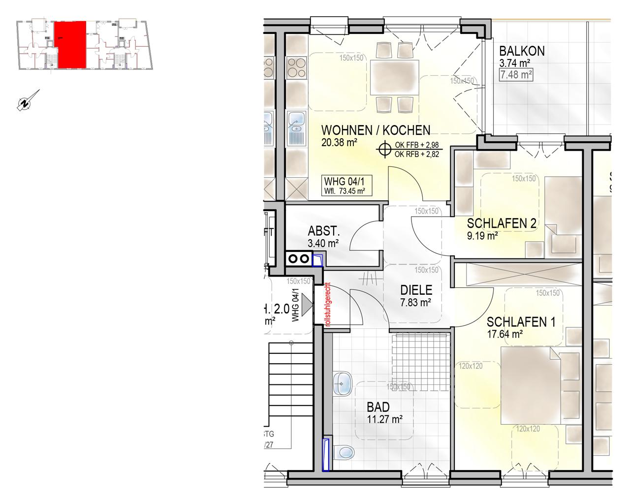 Nr. 04/1 - 1.OG - 3 Zimmer - 73,52m²