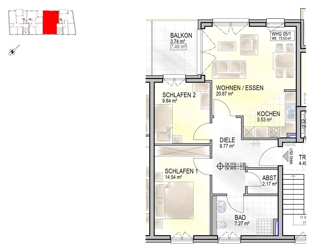 Nr. 05/1 - 1.OG - 3 Zimmer - 73,57m²