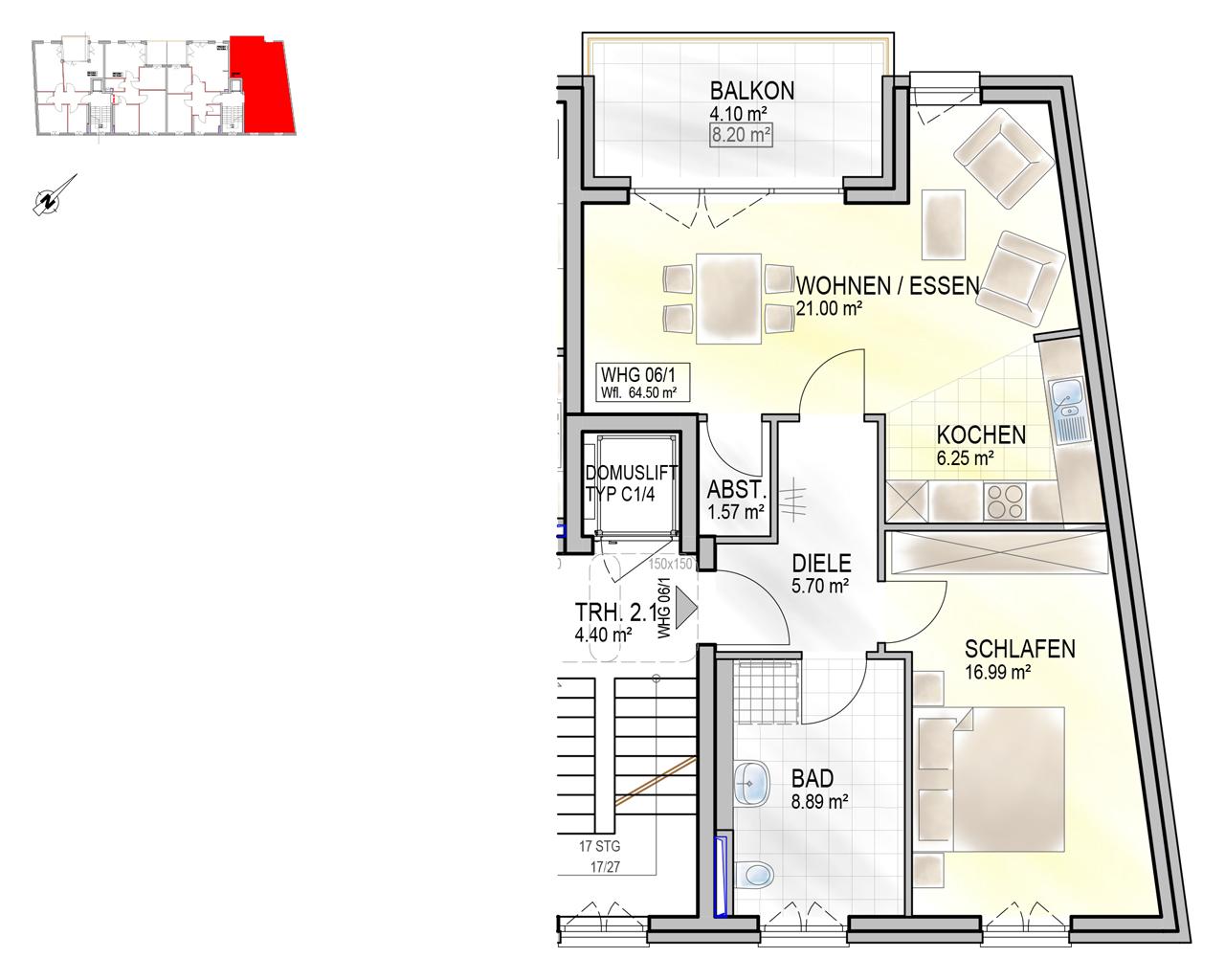 Nr. 06/1 - 1.OG - 2 Zimmer - 64,30m²