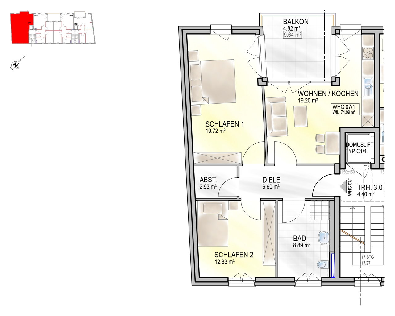 Nr. 07/1 - 2.OG - 3 Zimmer - 74,93m²