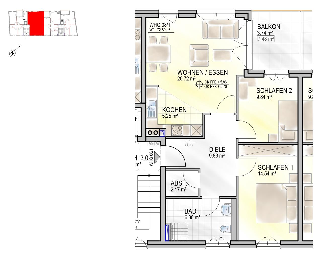 Nr. 08/1 - 2.OG - 3 Zimmer - 73,48m²