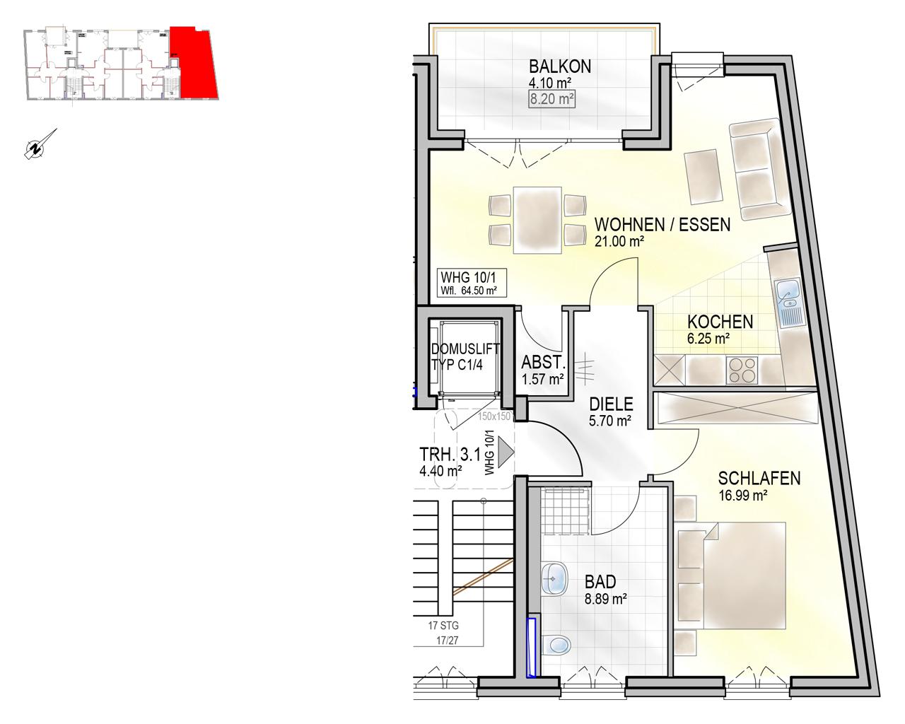Nr. 10/1 - 2.OG - 2 Zimmer - 64,36m²