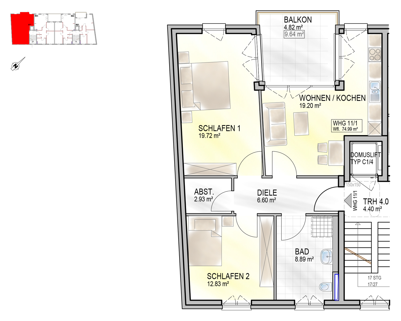 Nr. 11/1 - 3.OG - 3 Zimmer - 74,68m² - 296.200 €