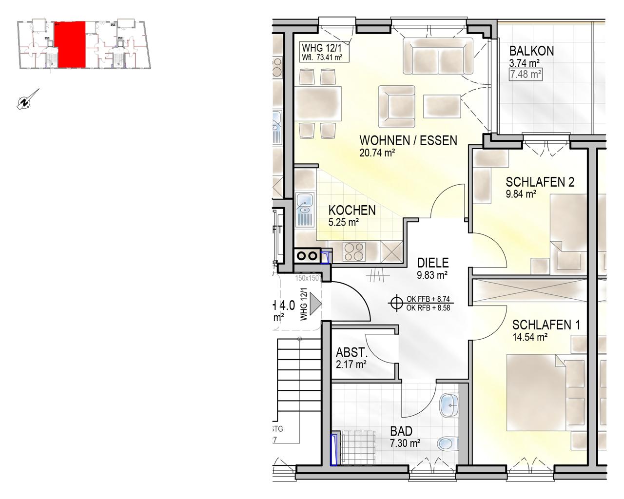 Nr. 12/1 - 3.OG - 3 Zimmer - 73,45m²