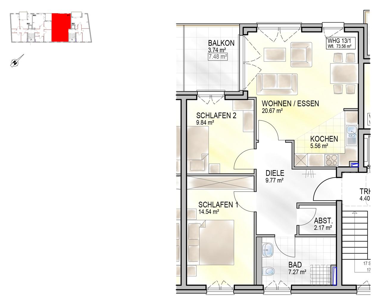 Nr. 13/1 - 3.OG - 3 Zimmer - 73,60m² - 290.600 €