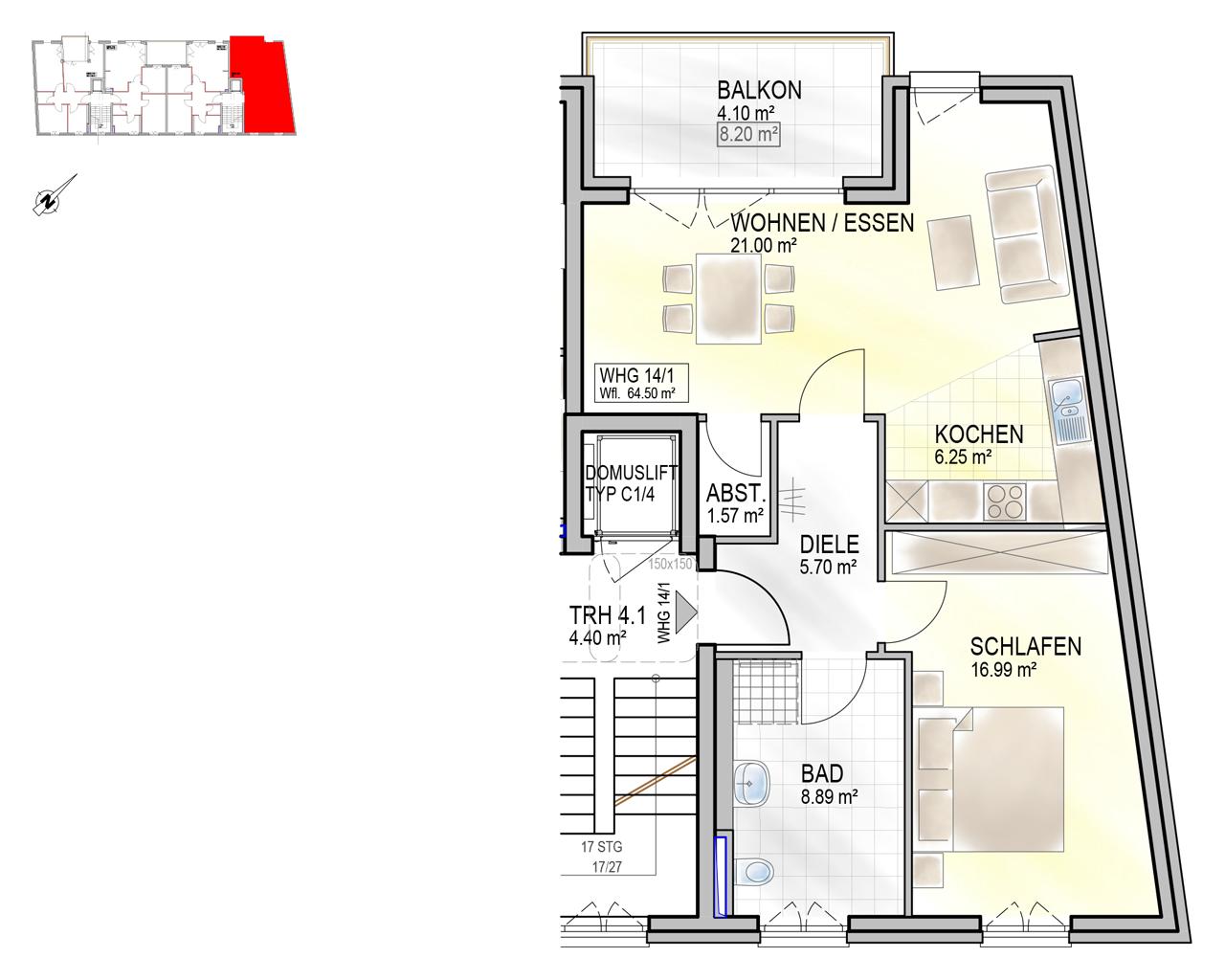 Nr. 14/1 - 3.OG - 2 Zimmer - 64,40m²