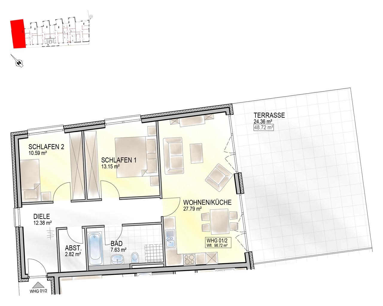 Nr. 01/2 - EG - 3 Zimmer - 98,91m²