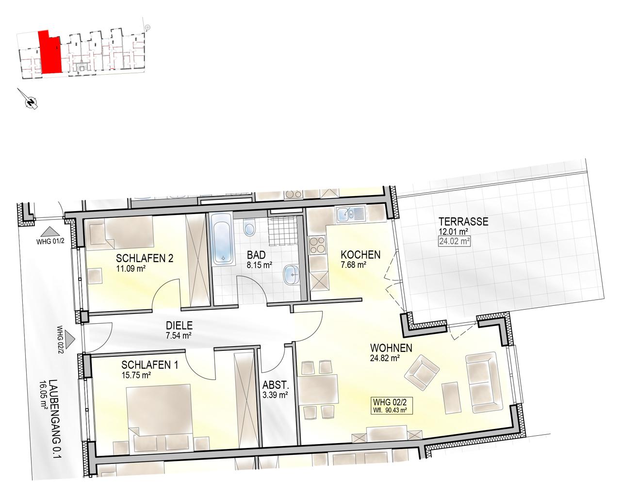 Nr. 02/2 - EG - 3 Zimmer - 90,27m² - 352.700 €