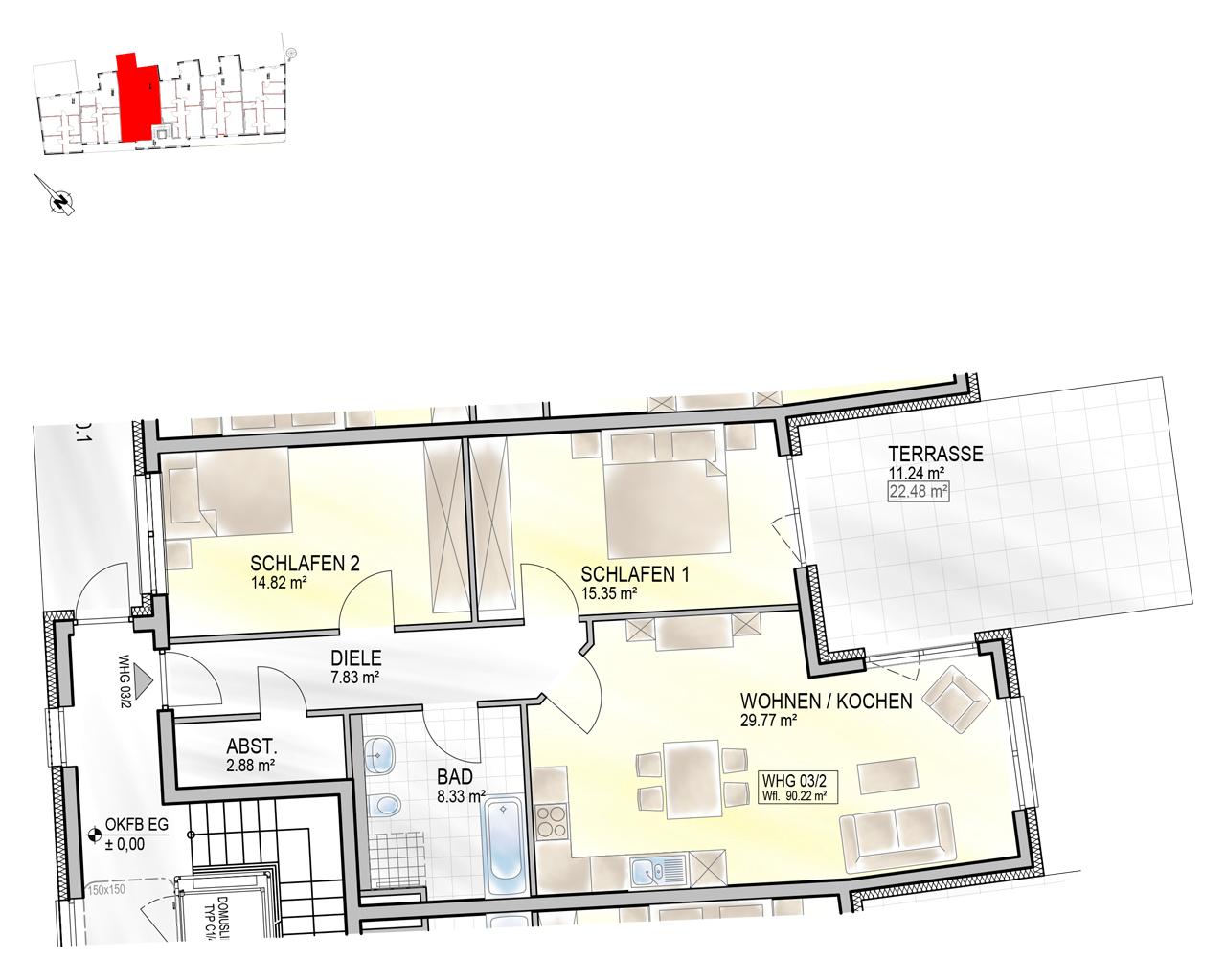 Nr. 03/2 - EG - 3 Zimmer - 90,16m² - 351.900 €
