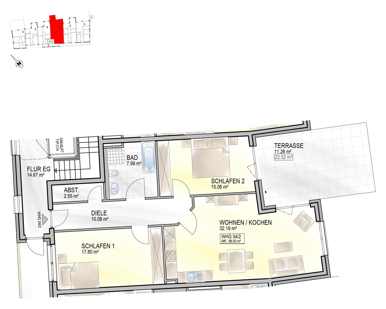 Nr. 04/2 - EG - 3 Zimmer - 96,88m²