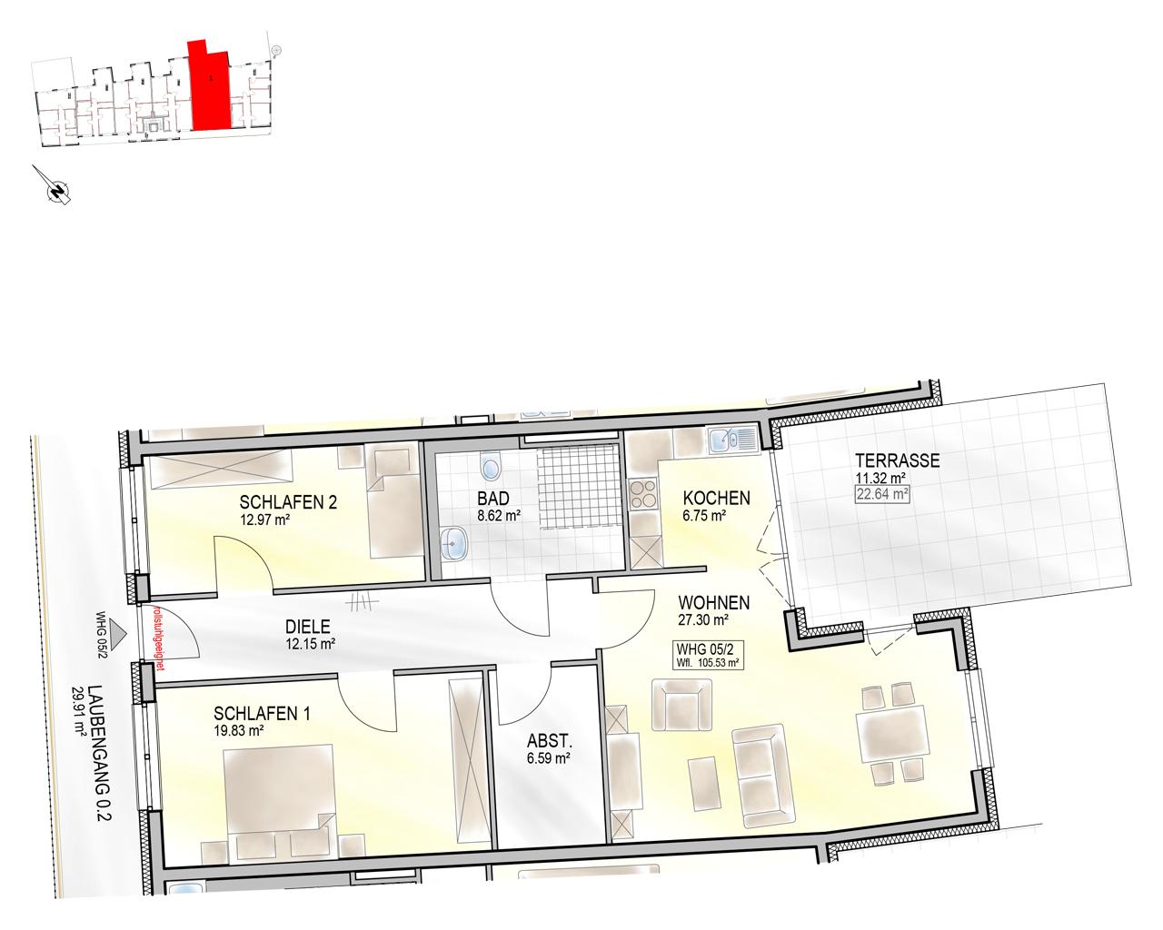 Nr. 05/2 - EG - 3 Zimmer - 105,54m² - 411.600 €