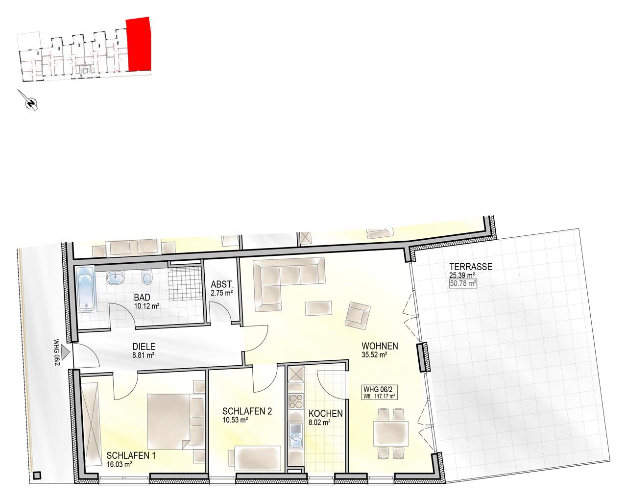 Nr. 06/2 - EG - 3 Zimmer - 117,26m² - 457.000 €