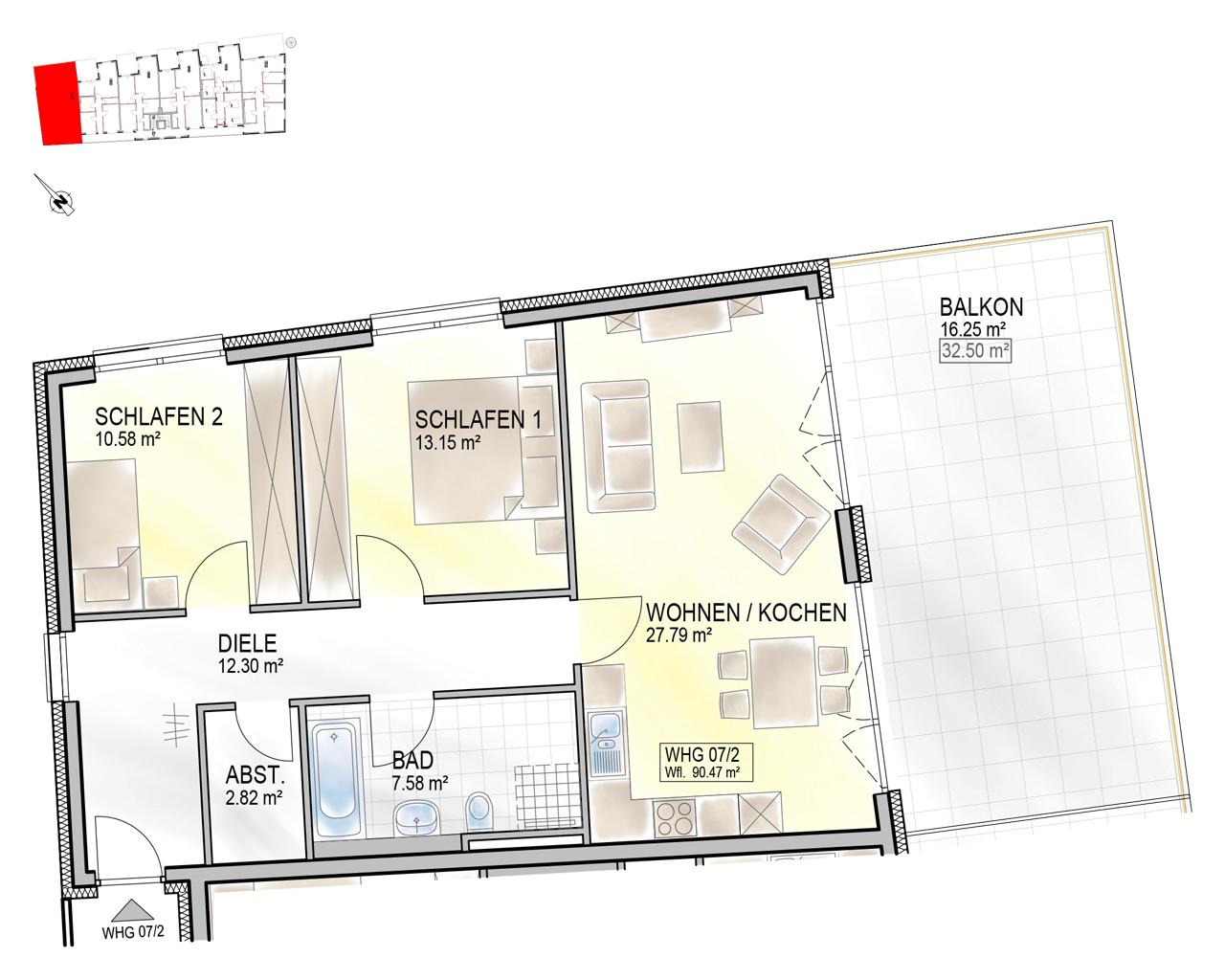 Nr. 07/2 - 1.OG - 3 Zimmer - 90,64m²
