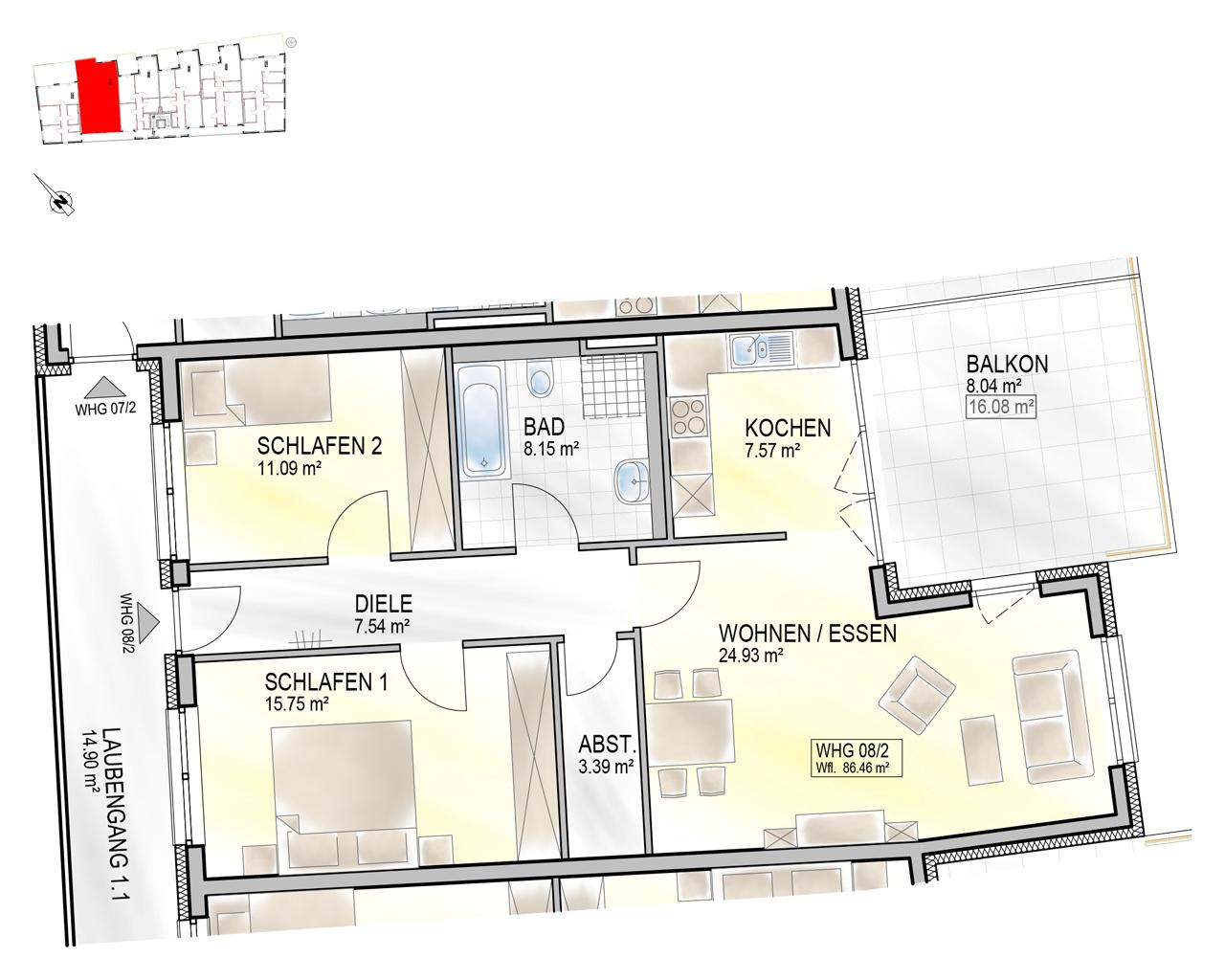 Nr. 08/2 - 1.OG - 3 Zimmer - 86,41m²