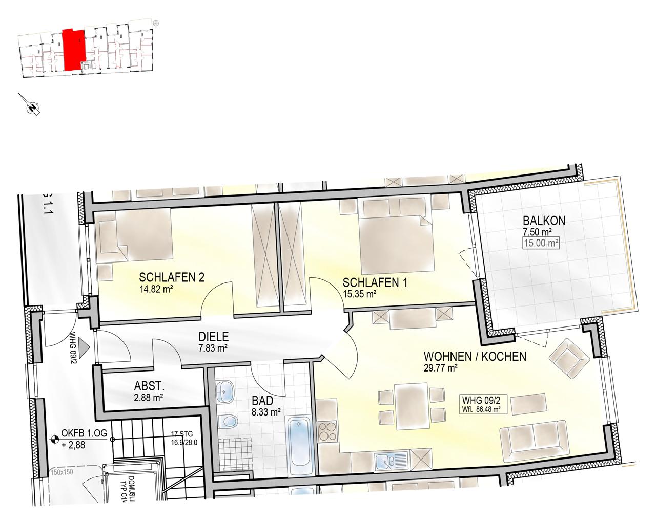 Nr. 09/2 - 1.OG - 3 Zimmer - 86,42m² - 341.600 €