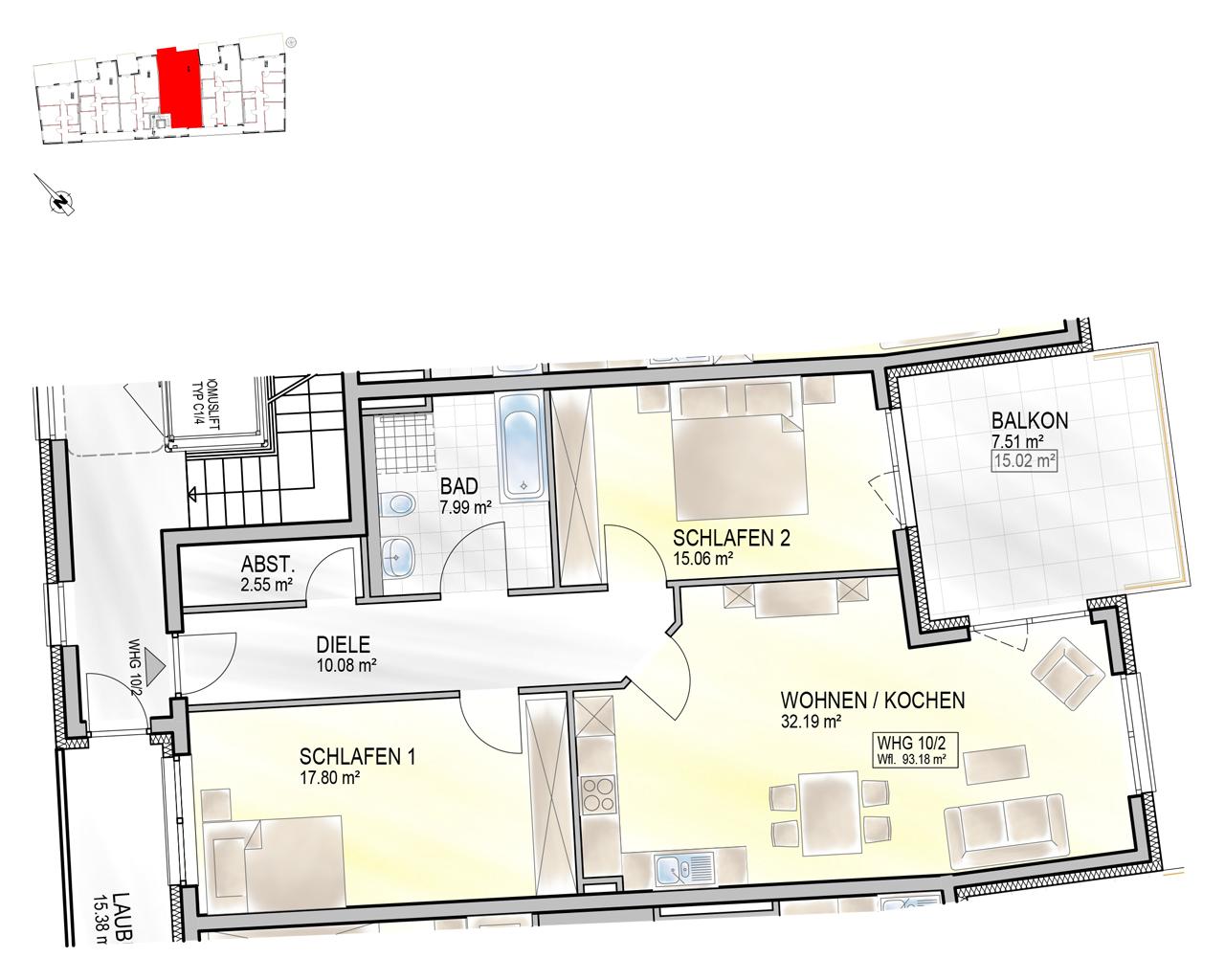 Nr. 10/2 - 1.OG - 3 Zimmer - 93,13m²
