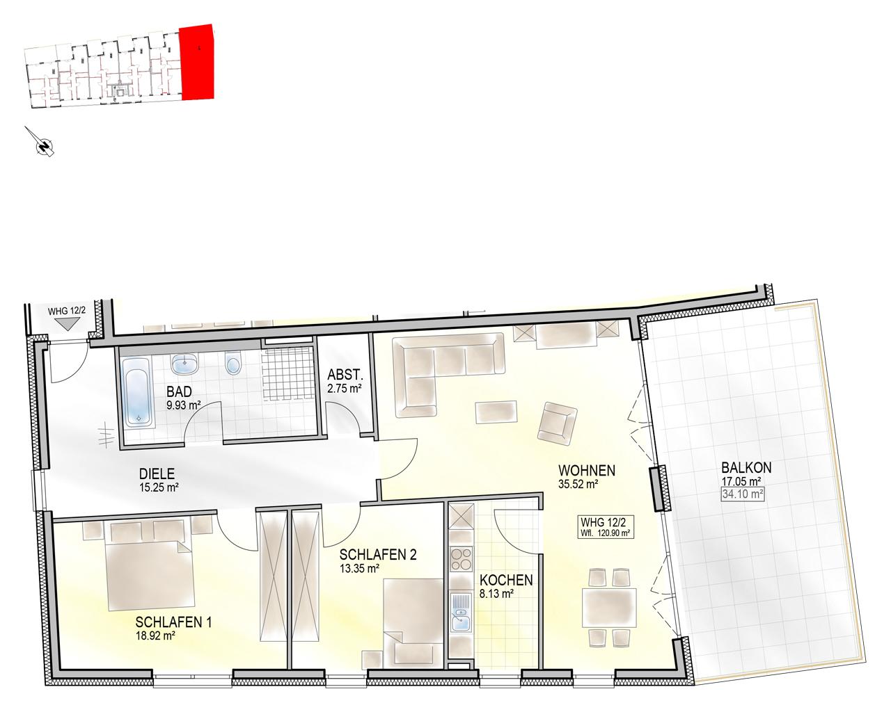 Nr. 12/2 - 1.OG - 3 Zimmer - 120,84m² - 477.600 €