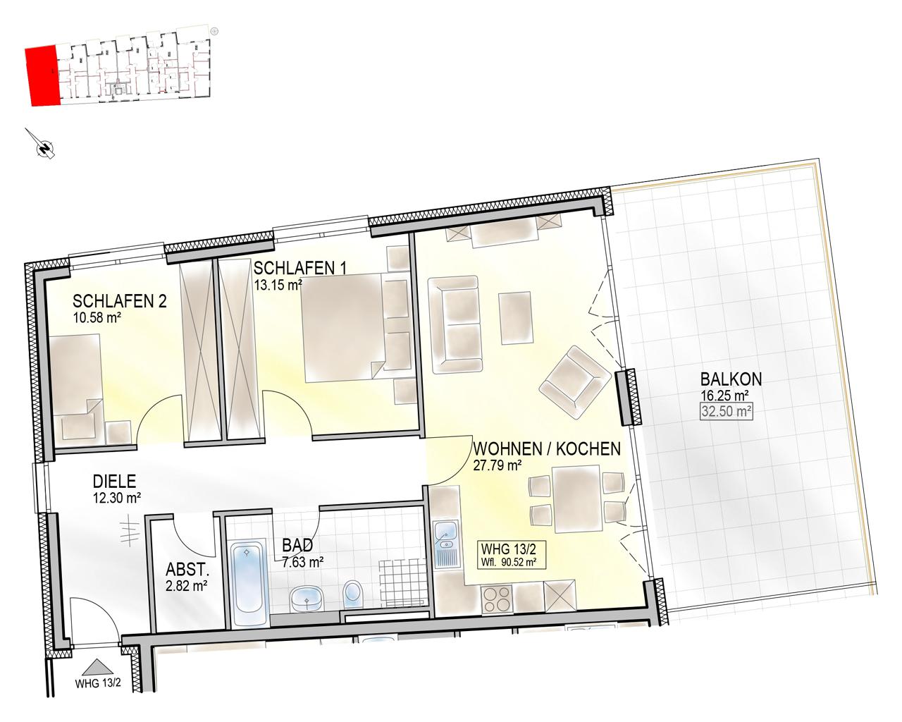 Nr. 13/2 - 2.OG - 3 Zimmer - 90,68m²