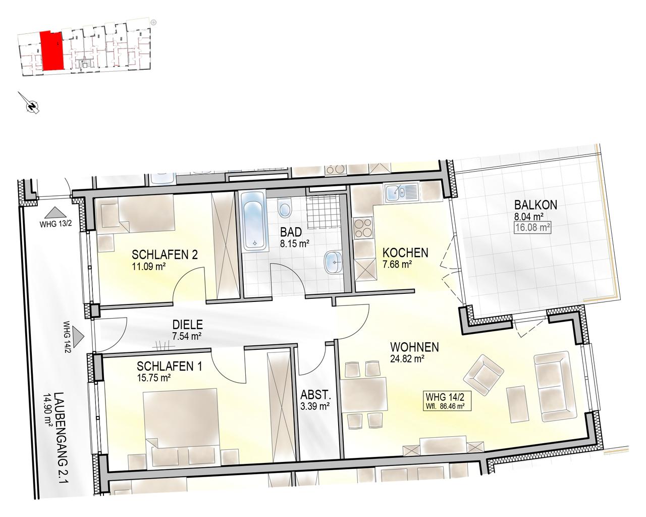 Nr. 14/2 - 2.OG - 3 Zimmer - 86,39m²