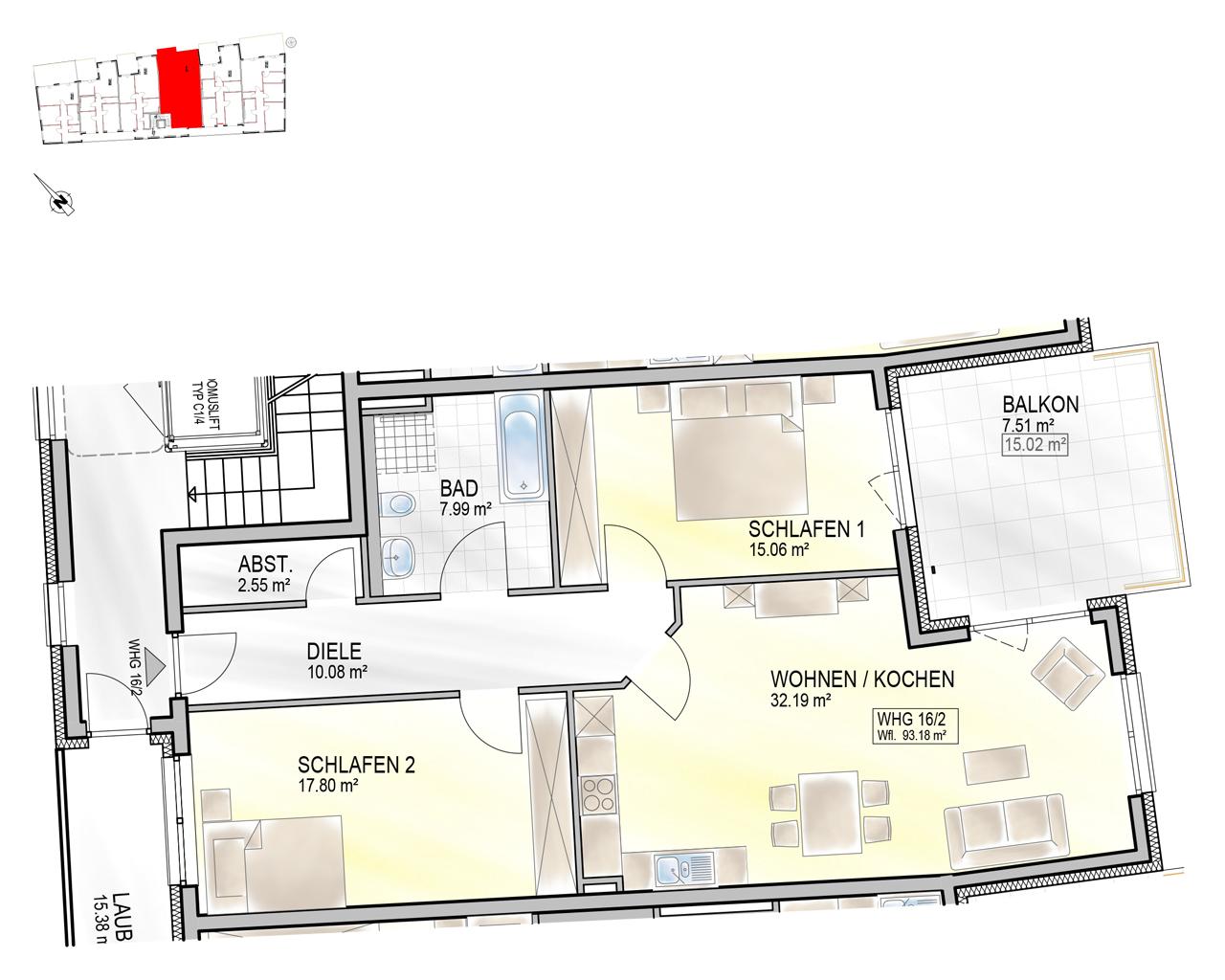 Nr. 16/2 - 2.OG - 3 Zimmer - 93,13m²