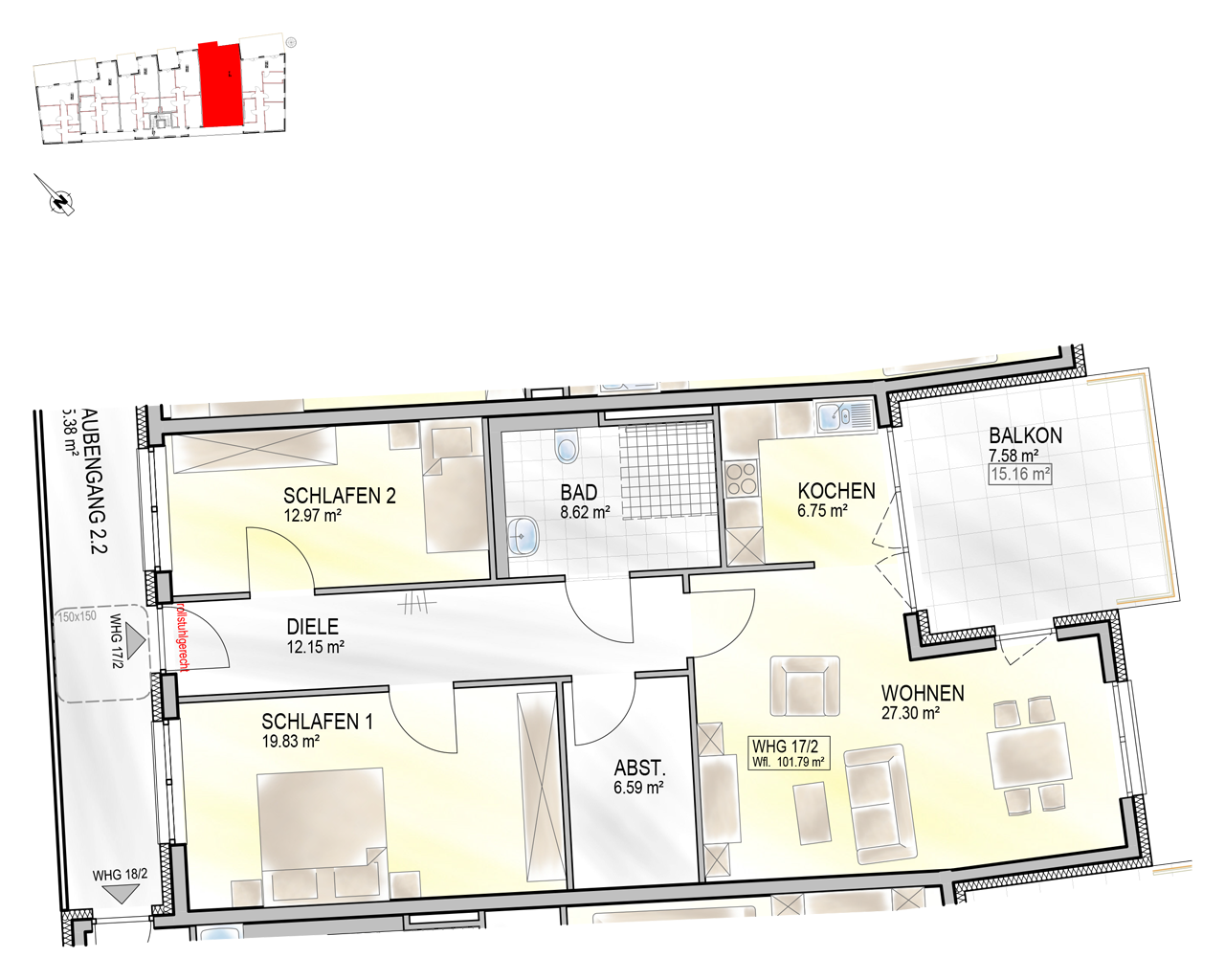 Nr. 17/2 - 2.OG - 3 Zimmer - 101,92m²
