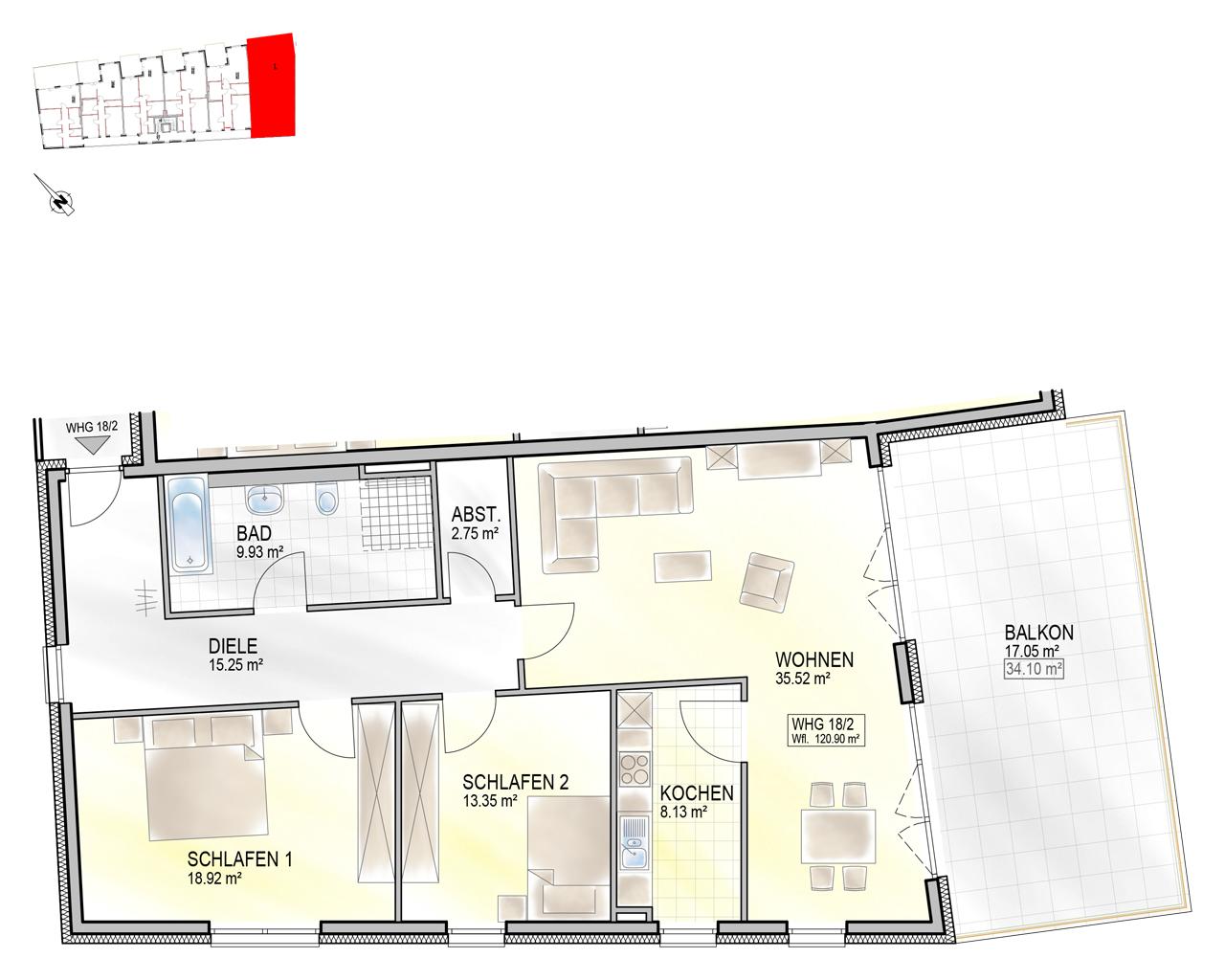 Nr. 18/2 - 2.OG - 3 Zimmer - 120,84m²