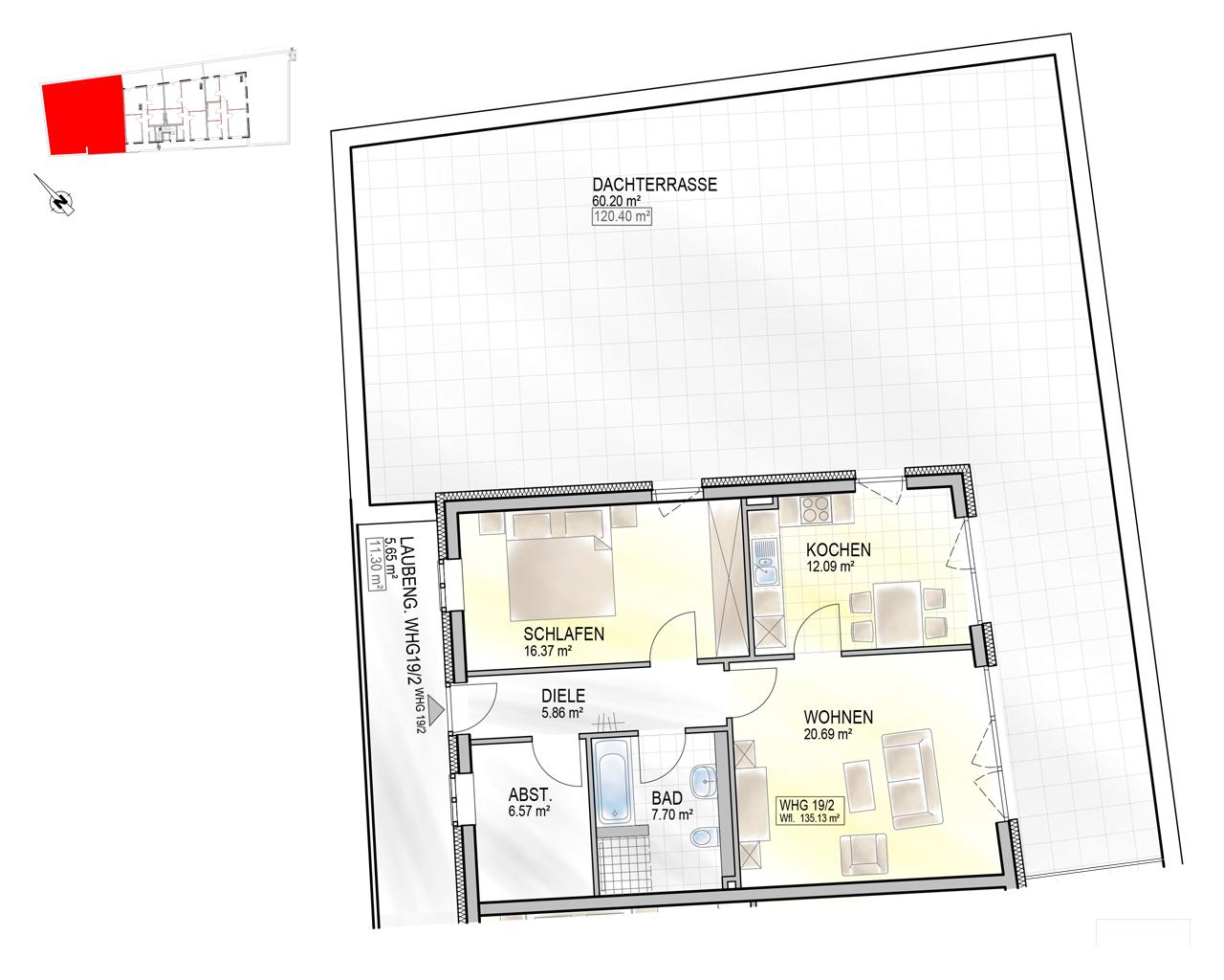 Nr. 19/2 - 3.OG - 2 Zimmer - 135,04m² - 560.200 €