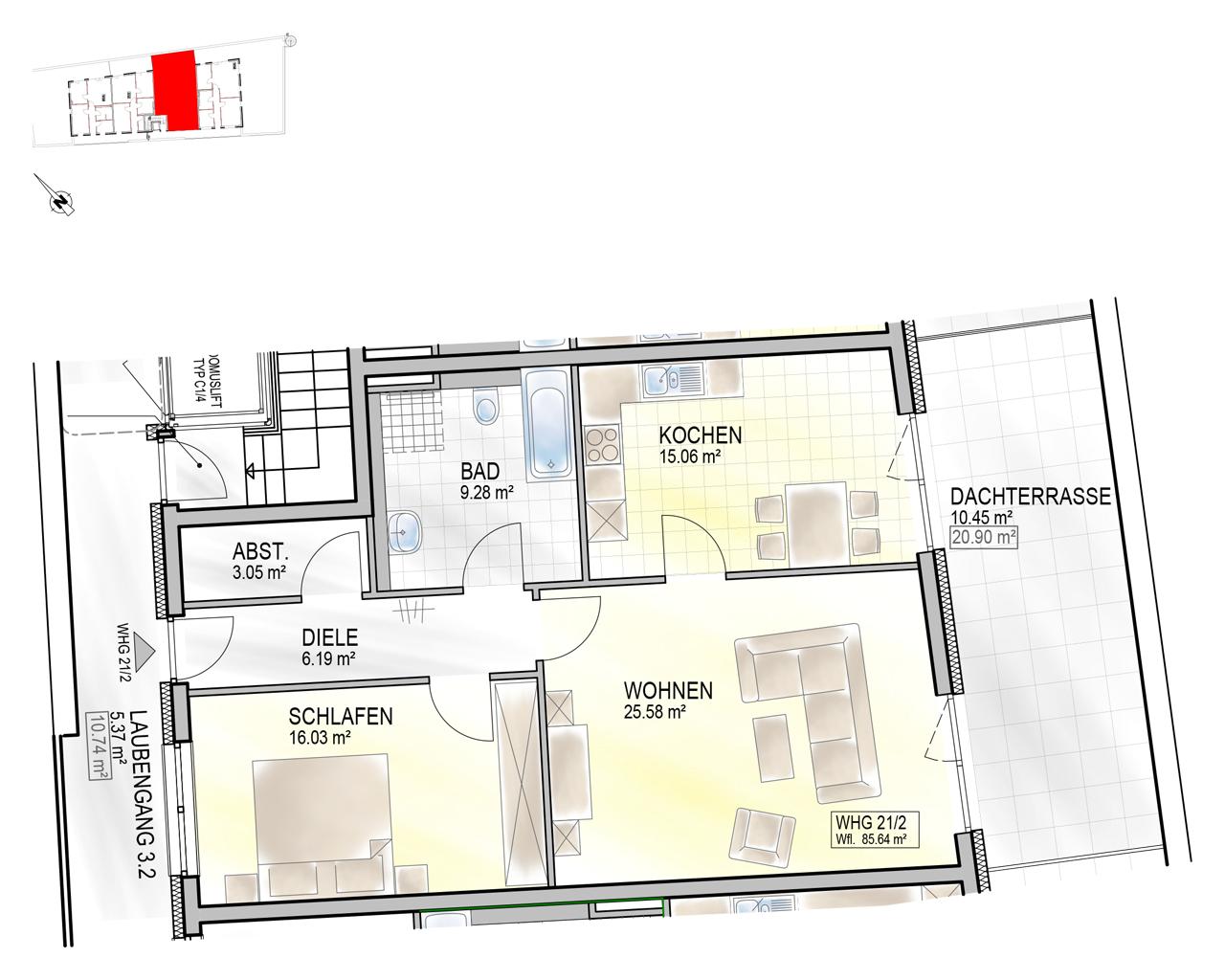 Nr. 21/2 - 3.OG - 2 Zimmer - 85,38m² - 382.000 €