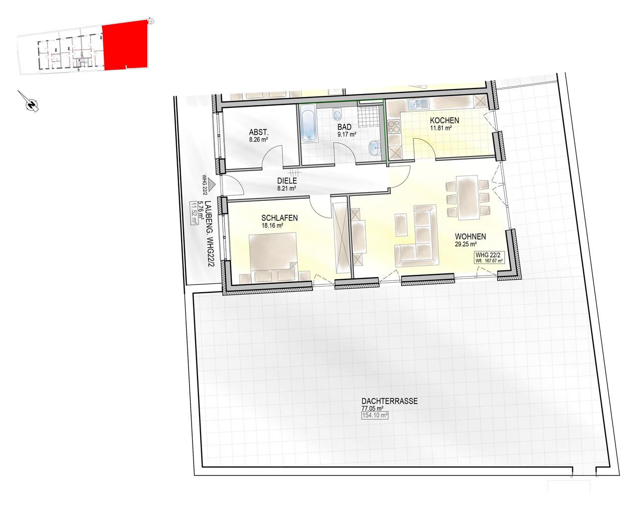 Nr. 22/2 - 3.OG - 2 Zimmer - 167,62m² - 640.000 €