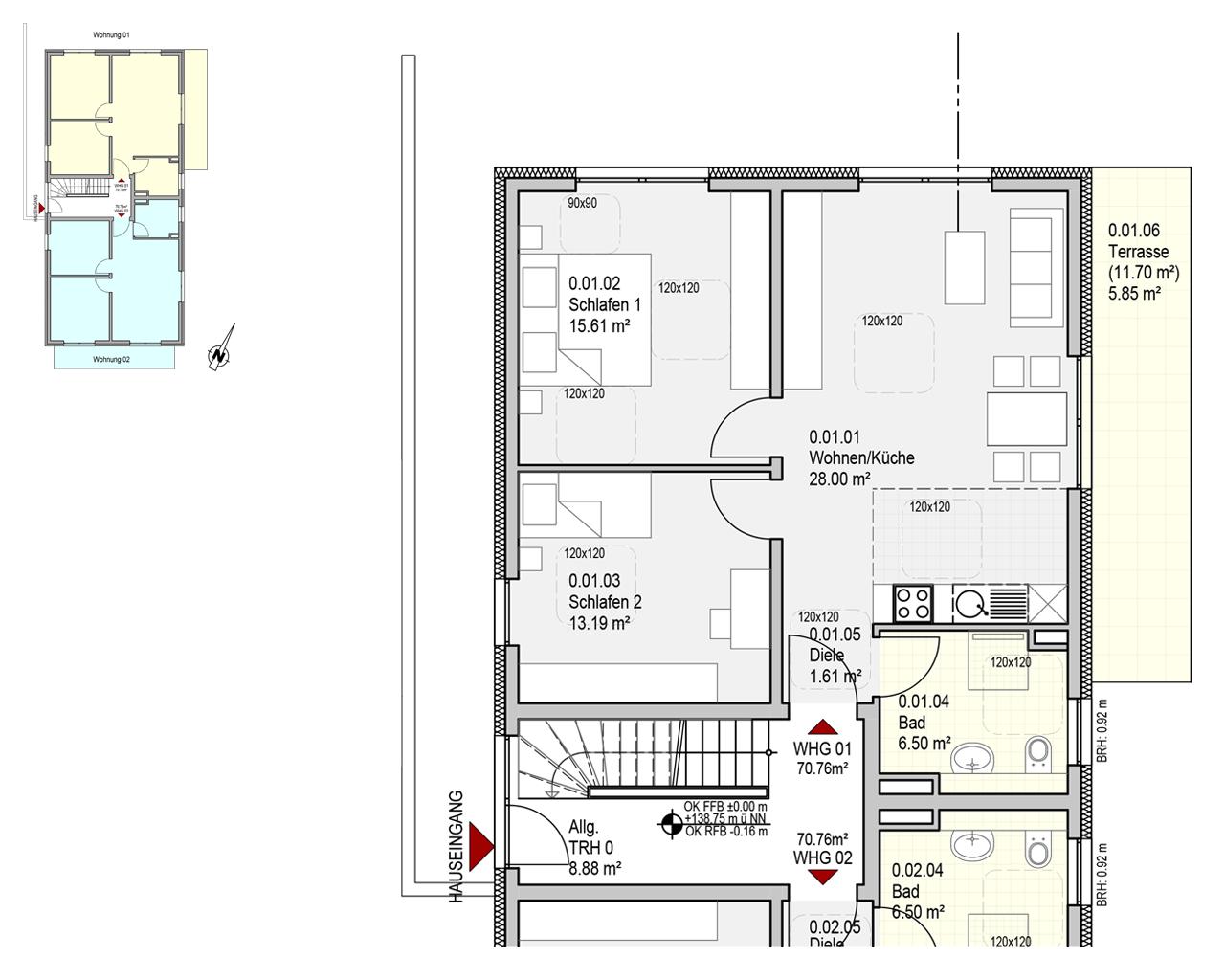 Nr. 1 - EG - 3 Zimmer - 70.76m²