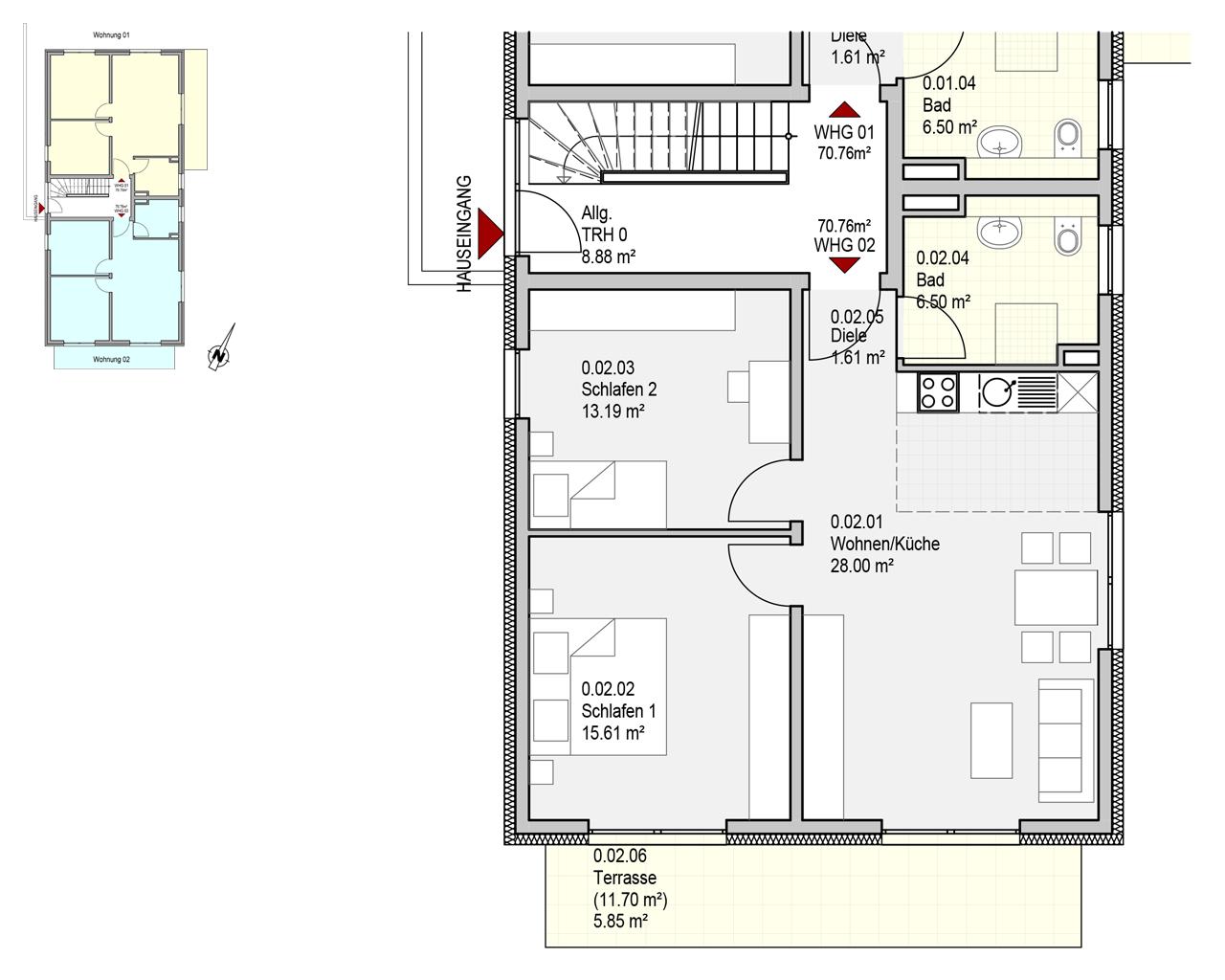 Nr. 2 - EG - 3 Zimmer - 70.76m²
