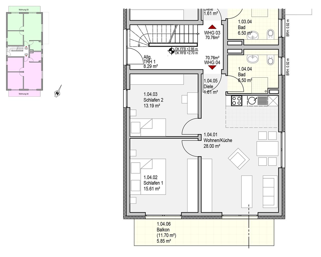 Nr. 4 - 1. OG - 3 Zimmer - 70,76m²