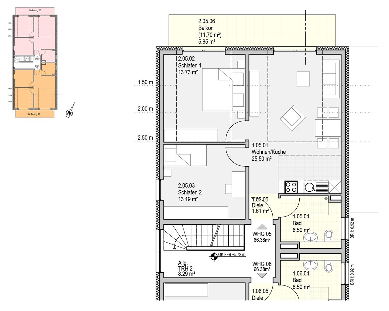 Nr. 5 - DG - 3 Zimmer - 66,38m²