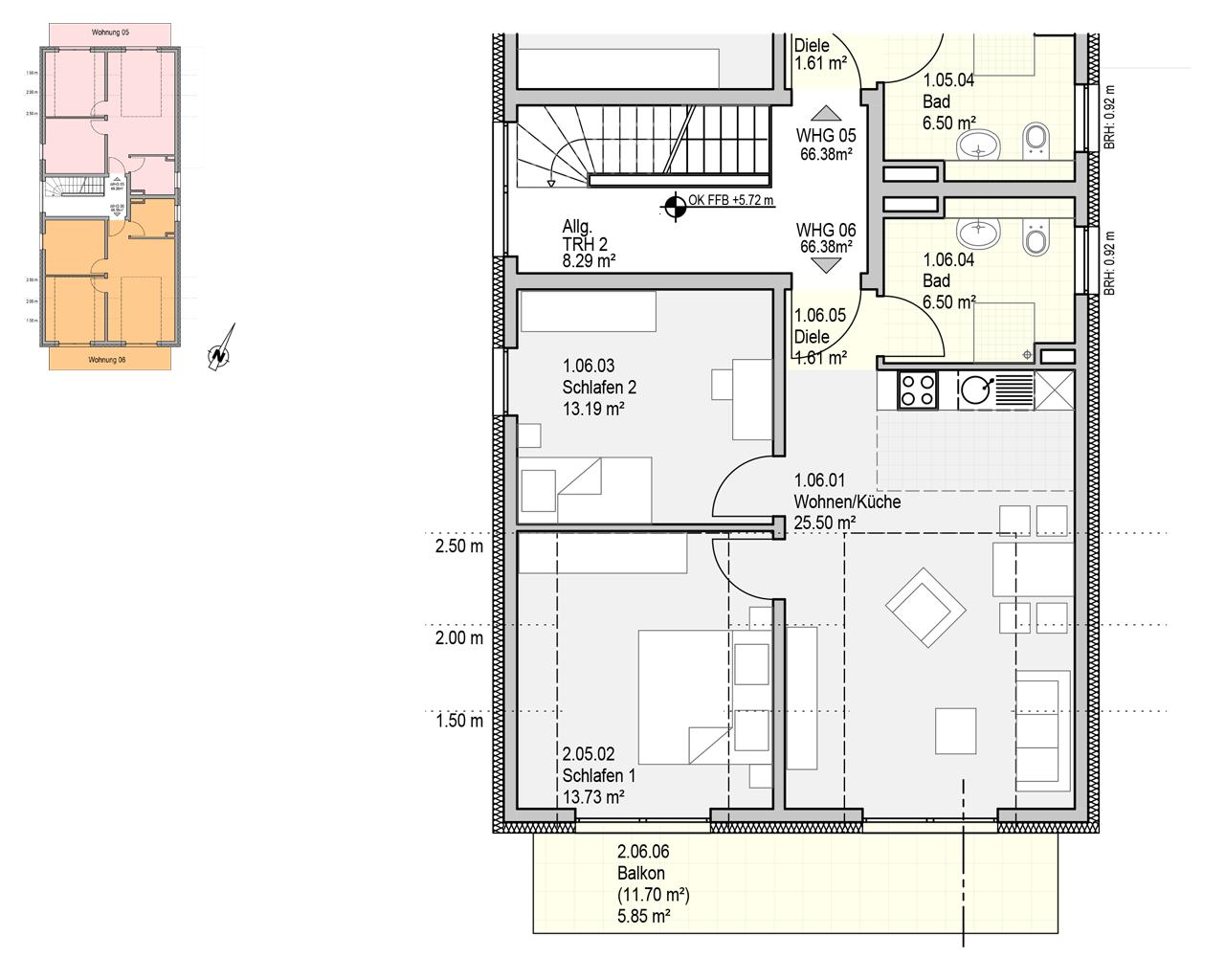 Nr. 6 - DG - 3 Zimmer - 66,38m²