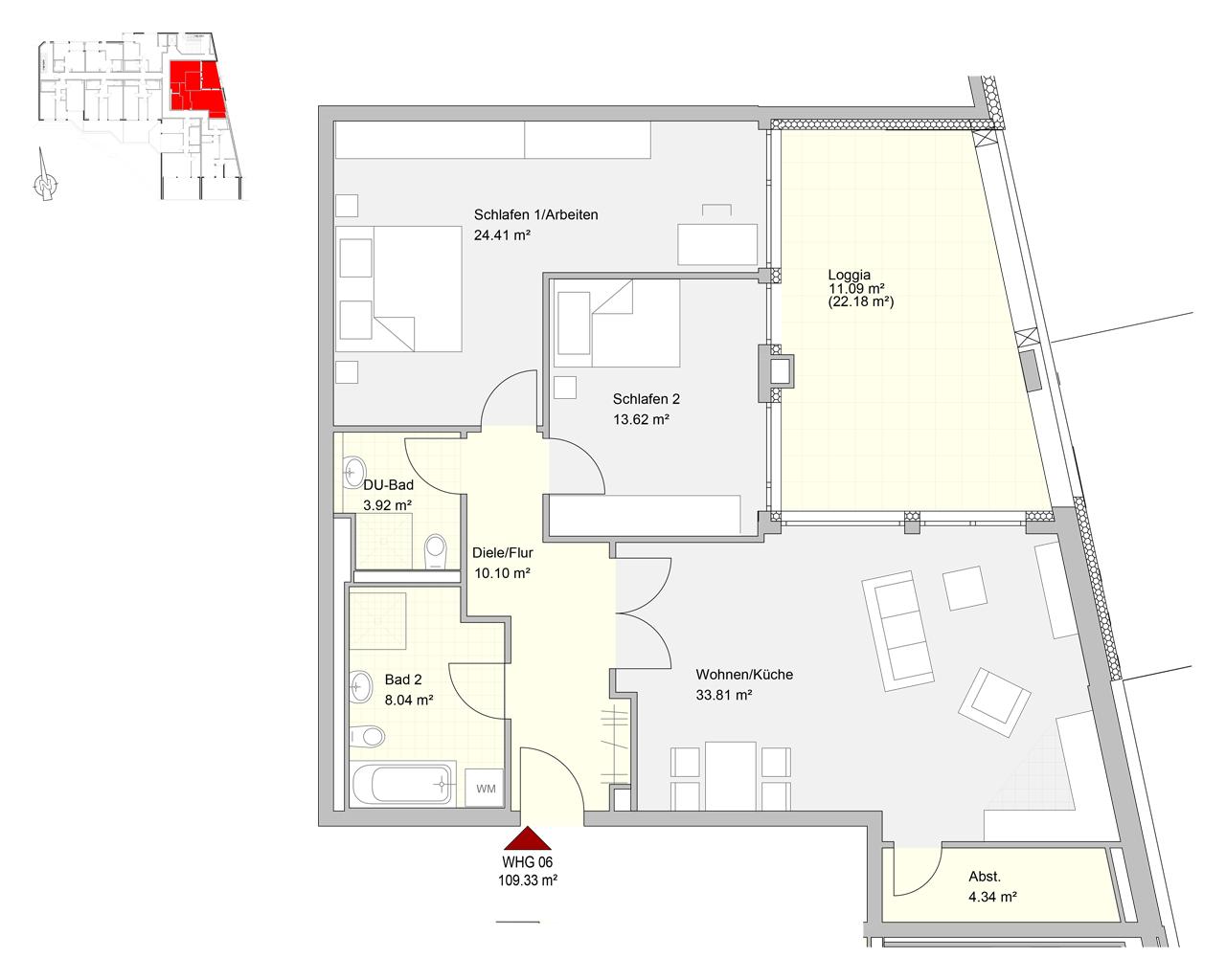 Bliespromenade Nr. 06 - 3.OG - 3 Zimmer - 109,03 m² - Kaltmiete: 875,00 € - Nebenkosten: 220,00€
