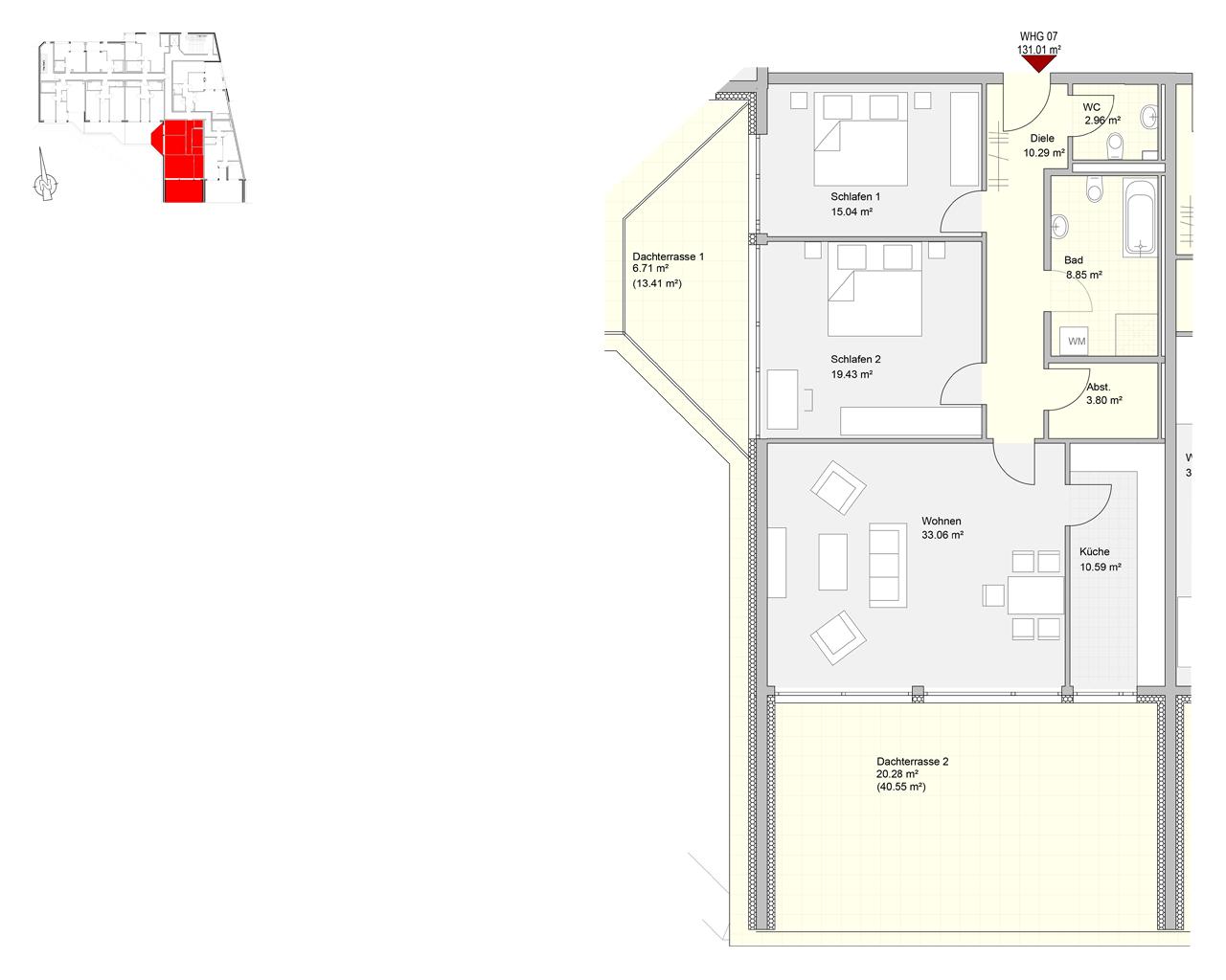 Bliespromenade Nr. 07 - 3.OG - 3 Zimmer - 131,01 m² - Kaltmiete 1050,00 € - Nebenkosten 265,00 €