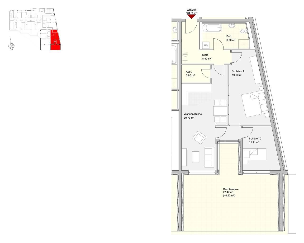 Bliespromenade Nr. 08 - 3.OG - 3 Zimmer - 104,66 m² - Kaltmiete 850,00 € - Nebenkosten 210,00 €