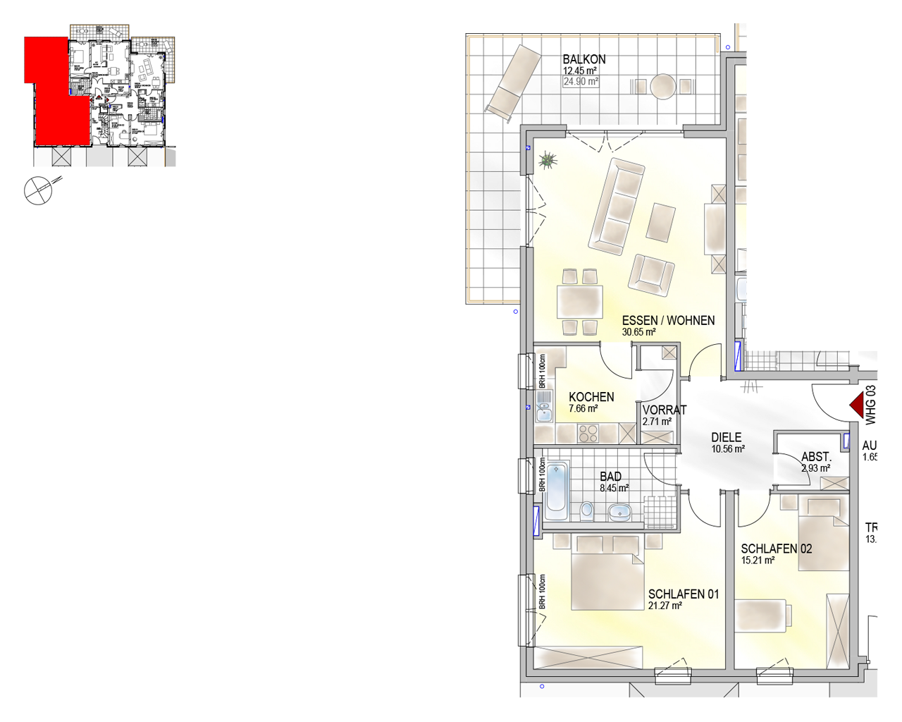 Nr. 03 - EG - 3 Zimmer - 111,89 m²