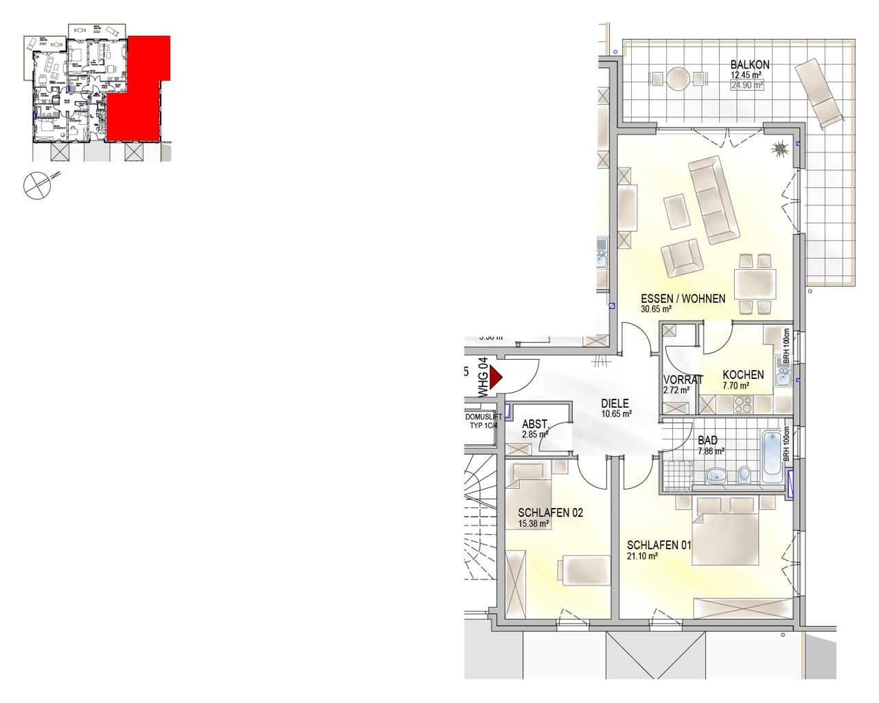 Nr. 04 - EG - 3 Zimmer - 111,36 m² - 295.000,- €