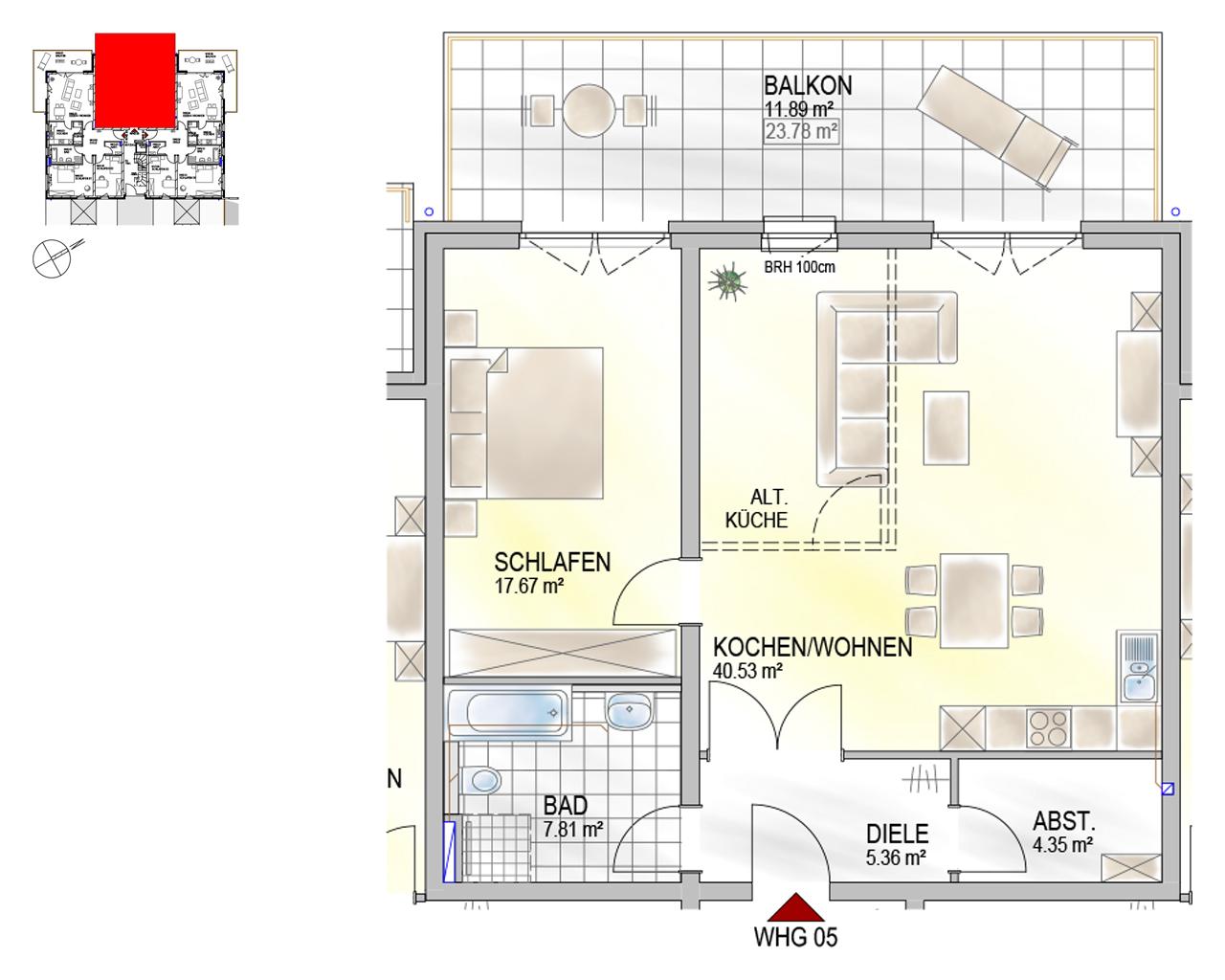 Nr. 05 - EG - 2 Zimmer - 87,61 m²