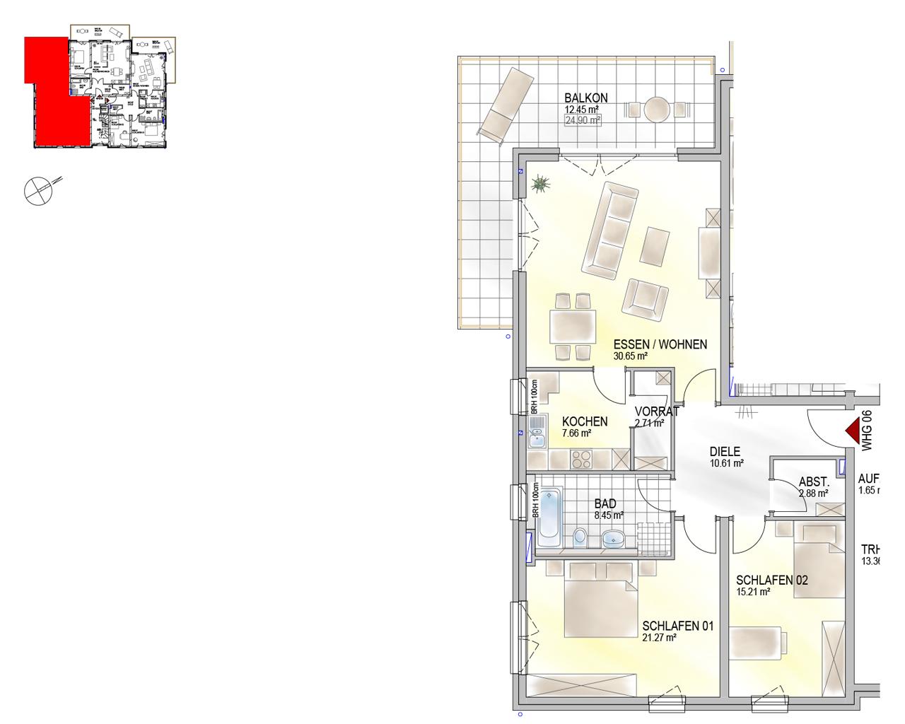 Nr. 06 - OG - 3 Zimmer - 111,89 m²