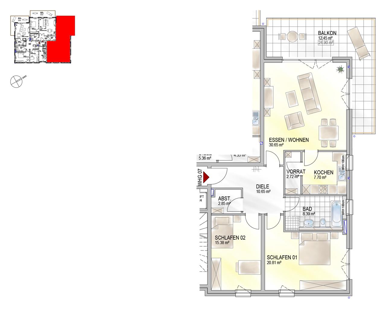 Nr. 07 - OG - 3 Zimmer - 111,60 m² - 319.000,- €