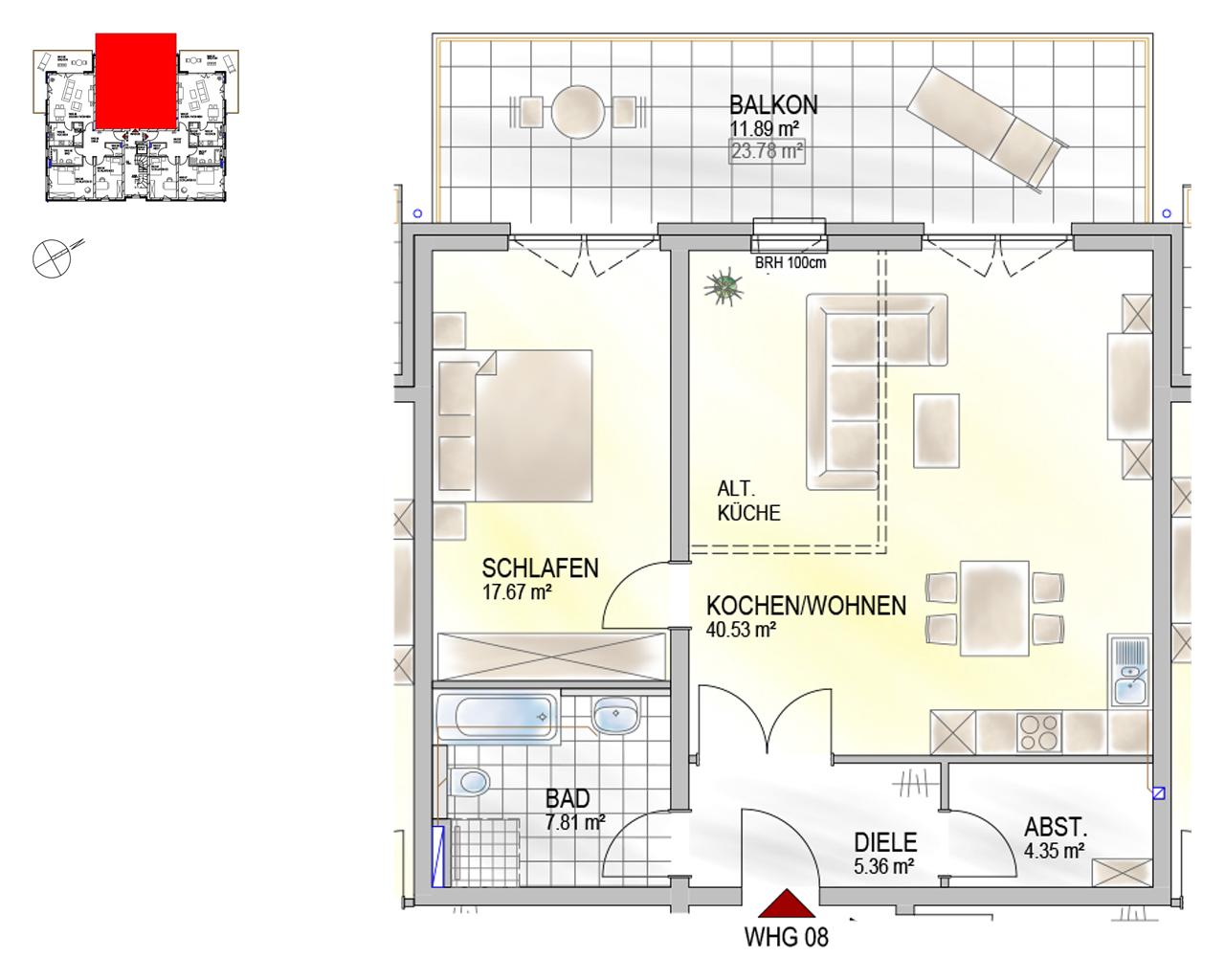 Nr. 08 - OG - 2 Zimmer - 87,61 m²
