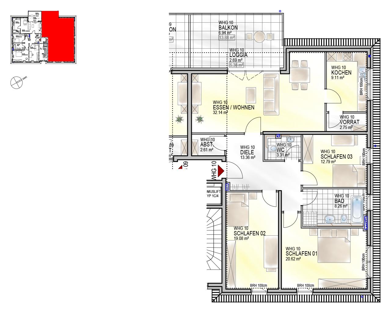 Nr. 10 - DG - 4 Zimmer - 136,66 m²