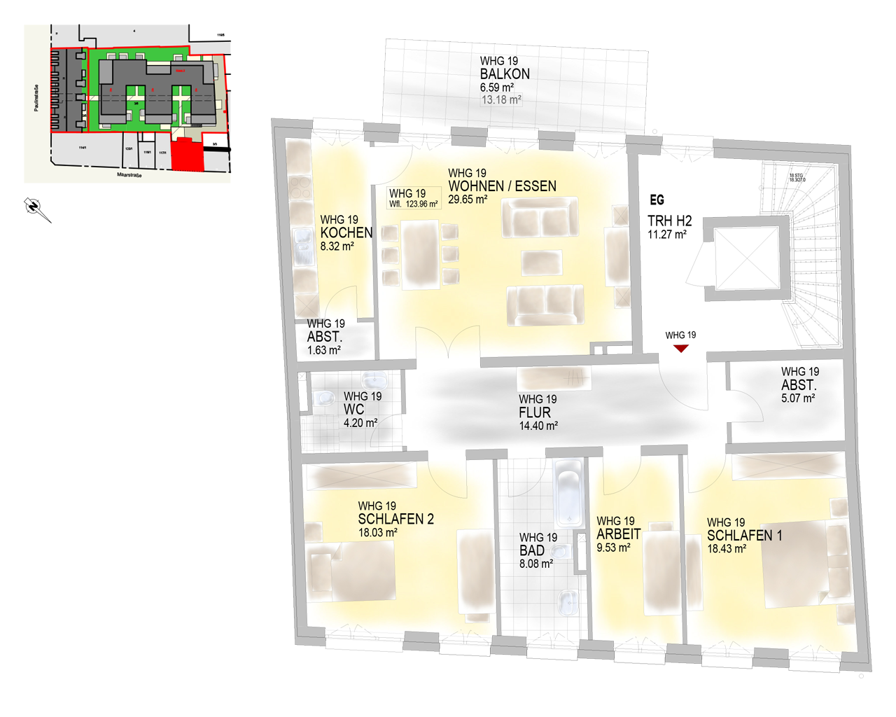 Nr. 19 - EG 2 - 4 Zimmer - 126,20 m² - 456.900 €