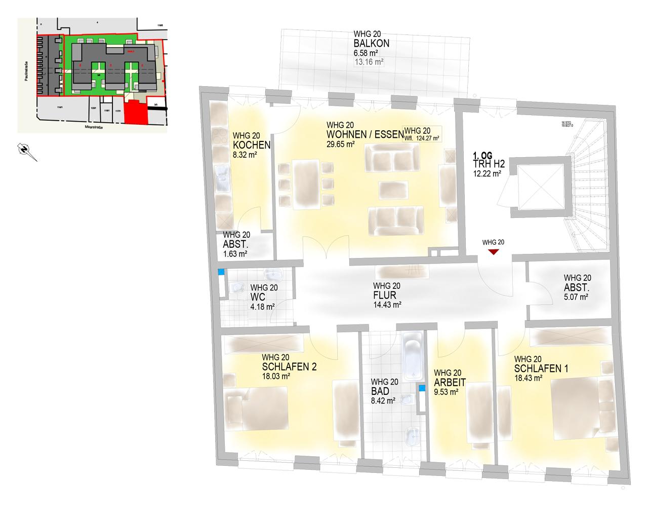 Nr. 20 - 1.OG - 4 Zimmer - 126,20 m² - 464.200 €