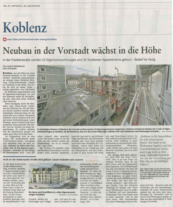 Mehr Wohnraum in der City: Neubau in der Vorstadt wächst in die Höhe, Rhein-Zeitung 29.01.2019