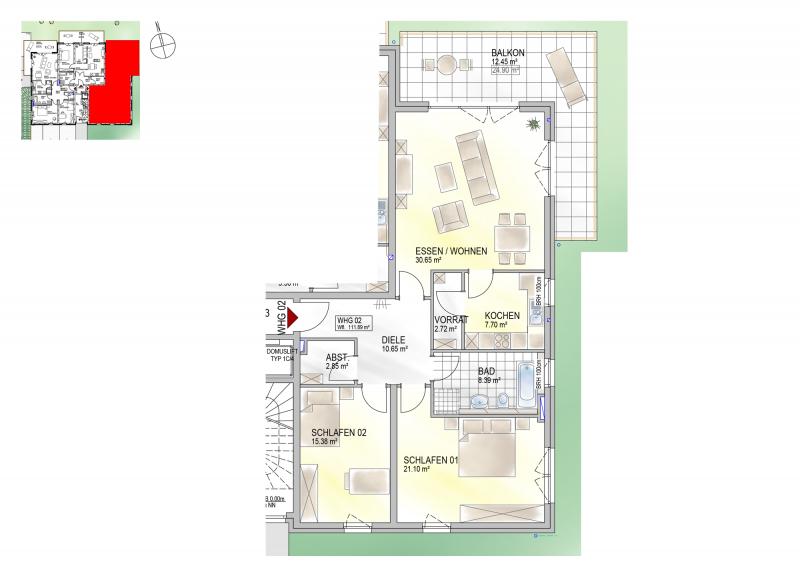 Residenz Bahnhofstraße 26, Wohnung 02