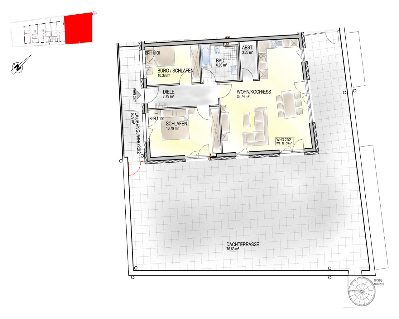Nr. 22/2 - 3.OG - 2 Zimmer - 167,28m² - 695.000 €